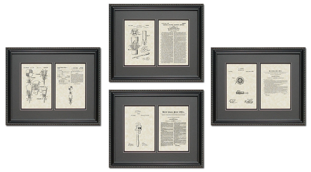 Construction Tools Patent Art & Copy Quad Frame Display, 16x20