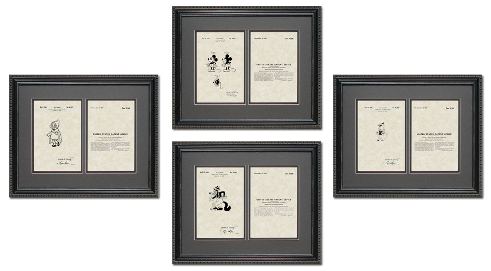 Disney Patent Art & Copy Quad Frame Display, 16x20