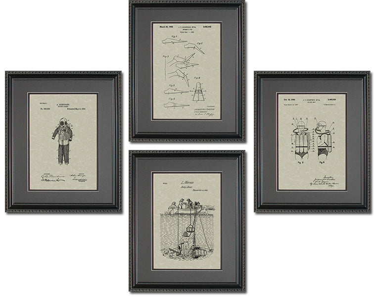 Scuba Diving Patents Quad Frame Display