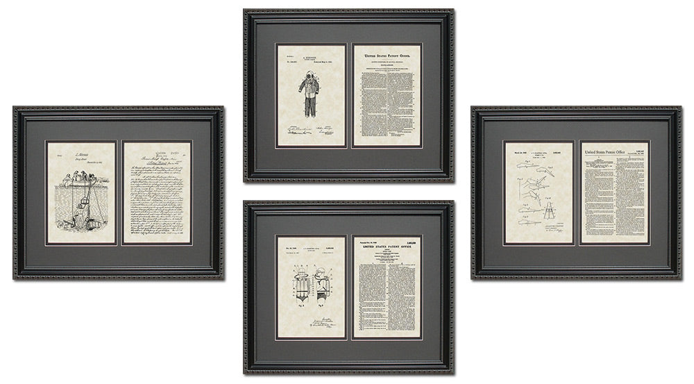 Scuba Diving Patent Art & Copy Quad Frame Display, 16x20