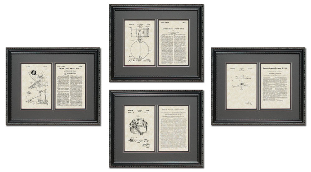 Drum Patent Art & Copy Quad Frame Display, 16x20