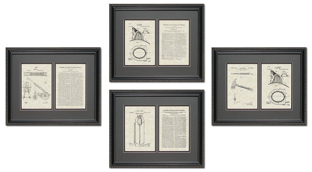 Firefighter Patent Art & Copy Quad Frame Display, 16x20