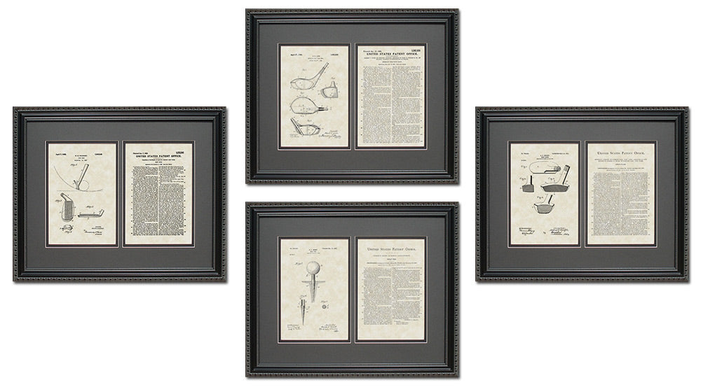 Golf Patent Art & Copy Quad Frame Display, 16x20