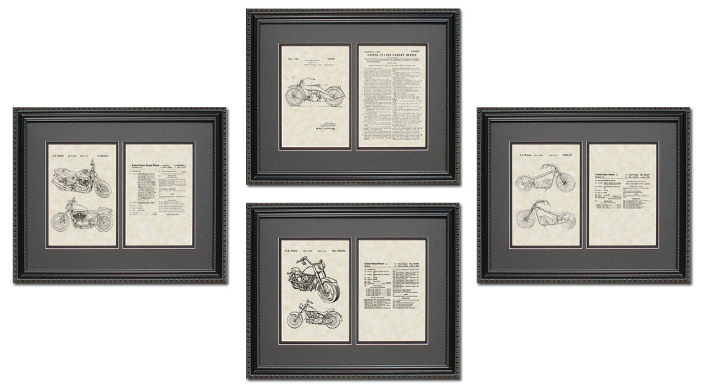 Harley Motorcycle Patent Art & Copy Quad Frame Display, 16x20