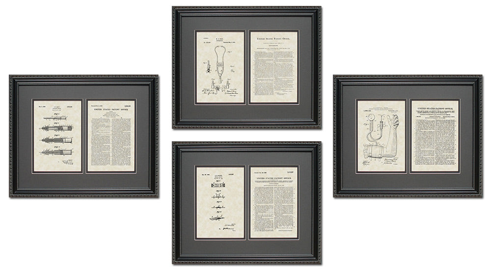Medical Device Patent Art & Copy Quad Frame Display, 16x20