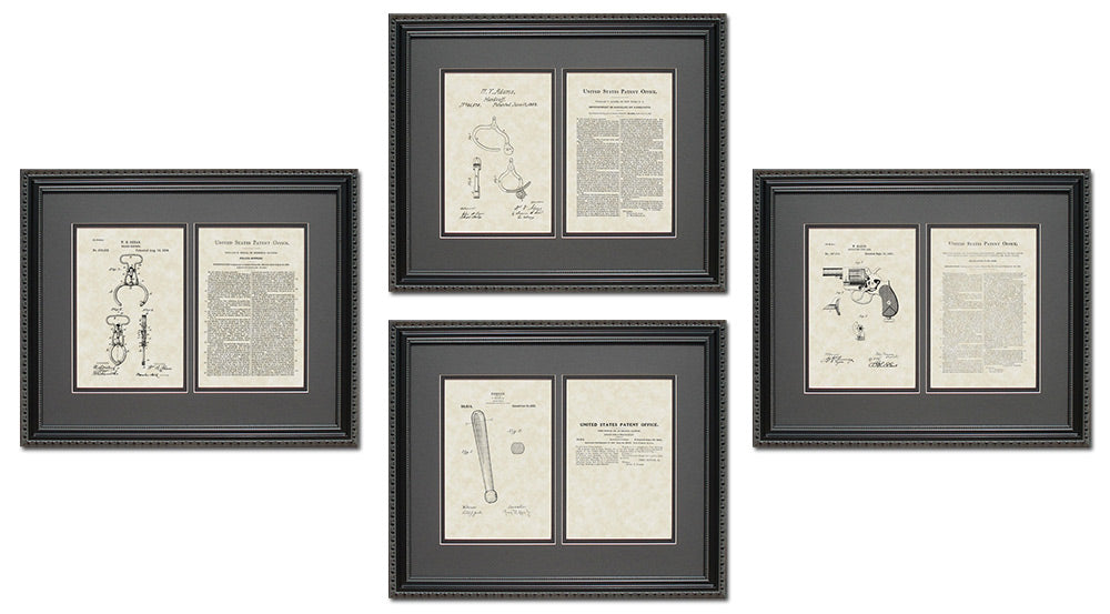 Police & Detective Patent Art & Copy Quad Frame Display, 16x20