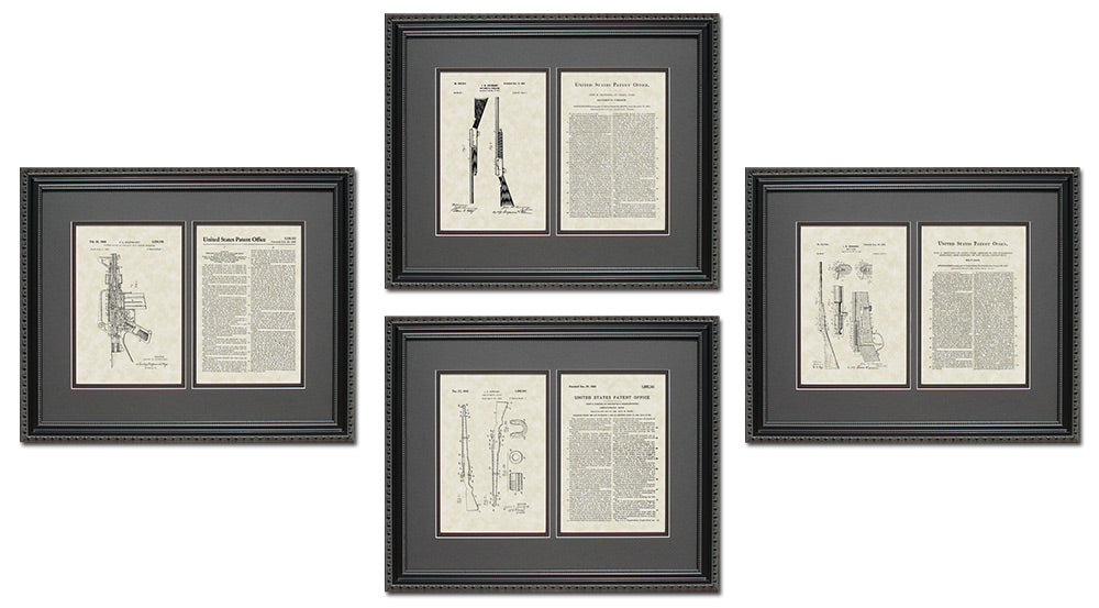 Rifle & Shotgun Patent Art & Copy Quad Frame Display, 16x20