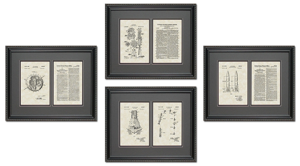 Space Patent Art & Copy Quad Frame Display, 16x20