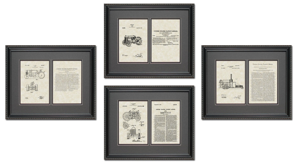 Tractor Patent Art & Copy Quad Frame Display, 16x20