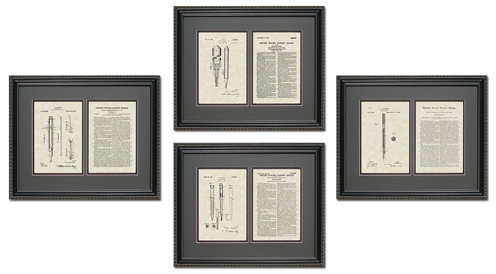 Writing Patent Art & Copy Quad Frame Display, 16x20