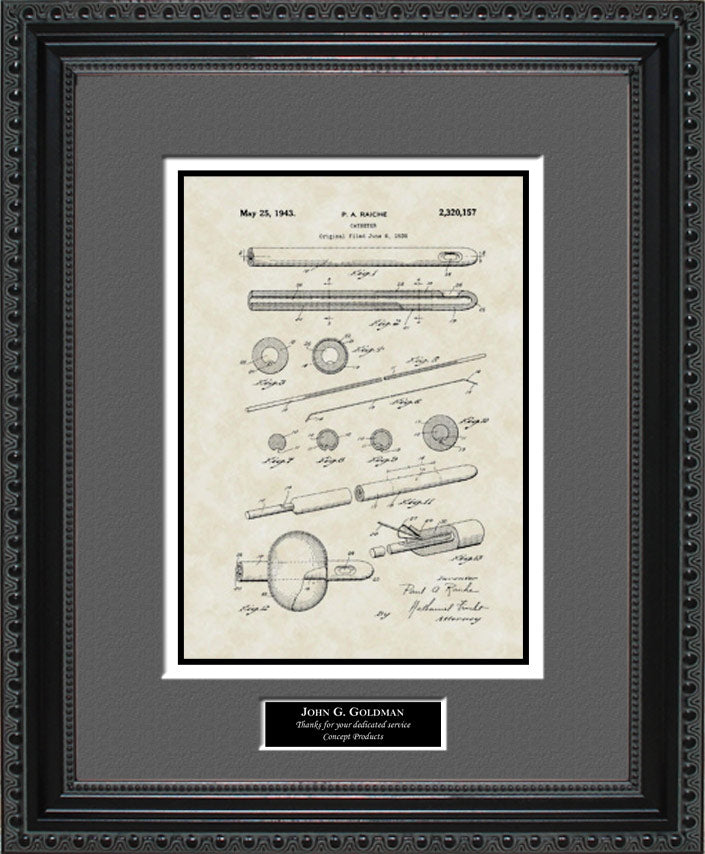 Personalized Foley Catheter Patent Art, Raiche, 1943