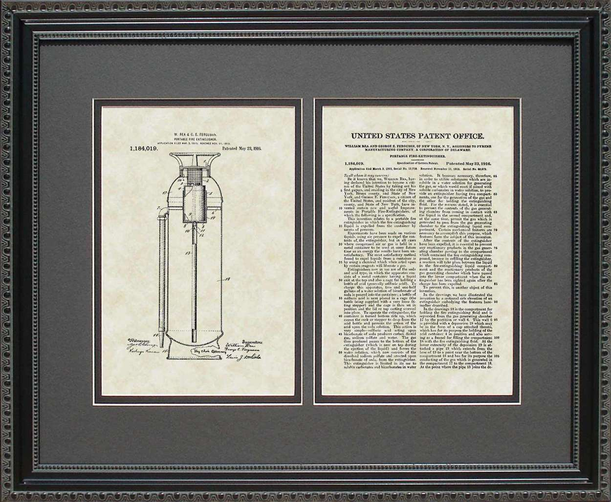 Fire Extinguisher Patent, Art & Copy, Rea, 1916, 16x20