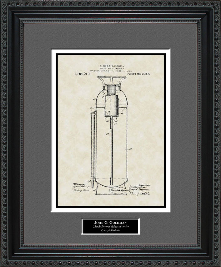 Personalized Fire Extinguisher Patent Art, Rea, 1916