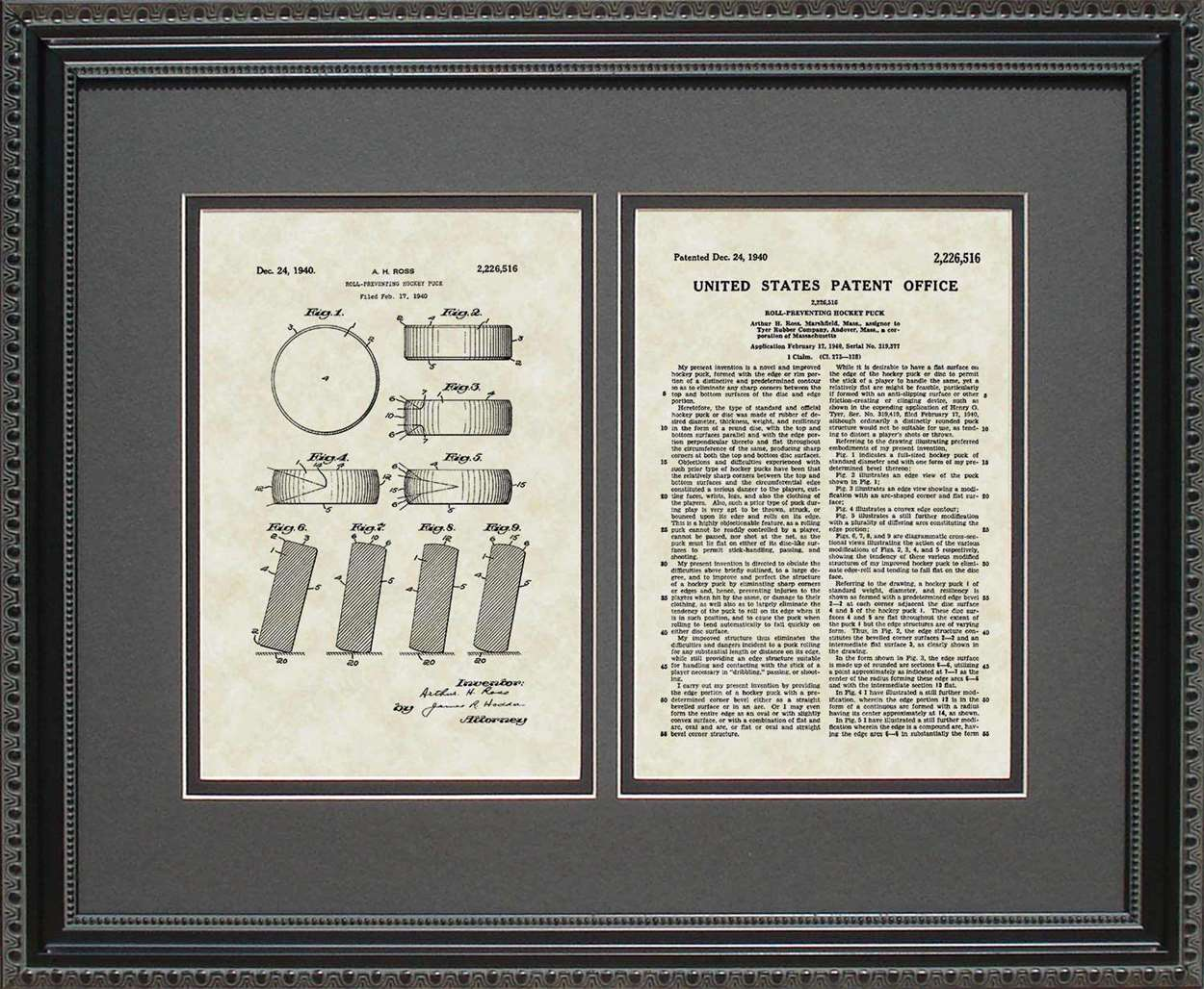 Hockey Puck Patent, Art & Copy, Ross, 1940, 16x20