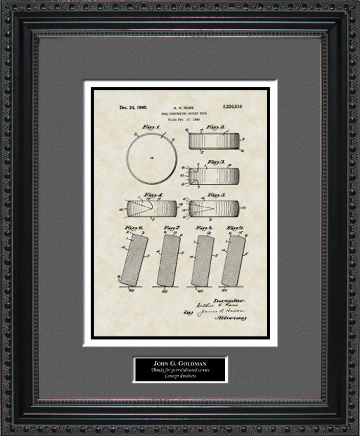 Personalized Hockey Puck Patent Art, Ross, 1940
