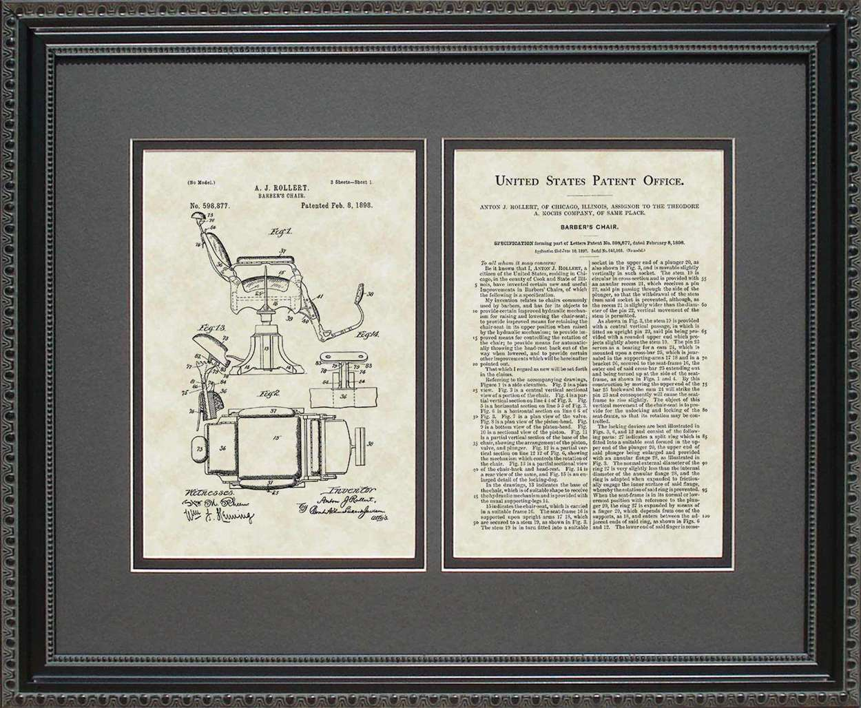 Barber Chair Patent, Art & Copy, Rollert, 1898, 16x20