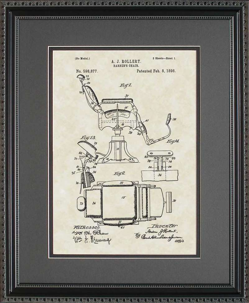 Barber Chair Patent Art, Rollert, 1898