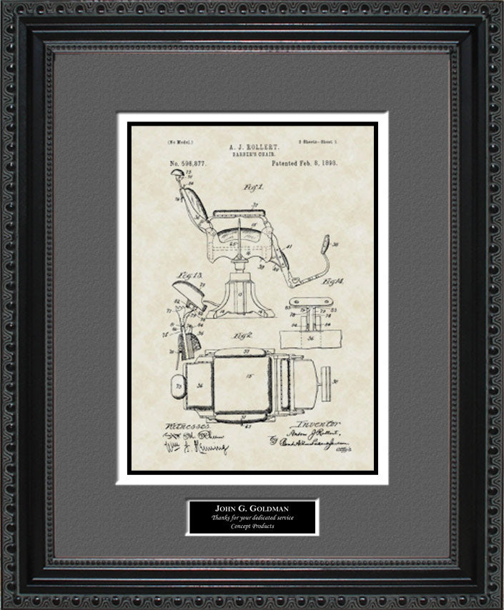 Personalized Barber Chair Patent Art, Rollert, 1898