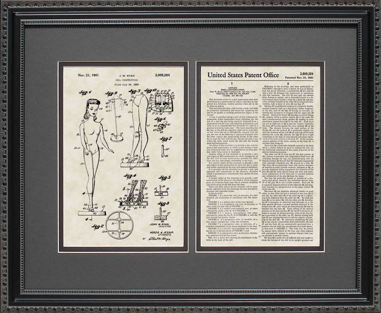 Barbie Doll Patent, Art & Copy, Ryan, 1961, 16x20