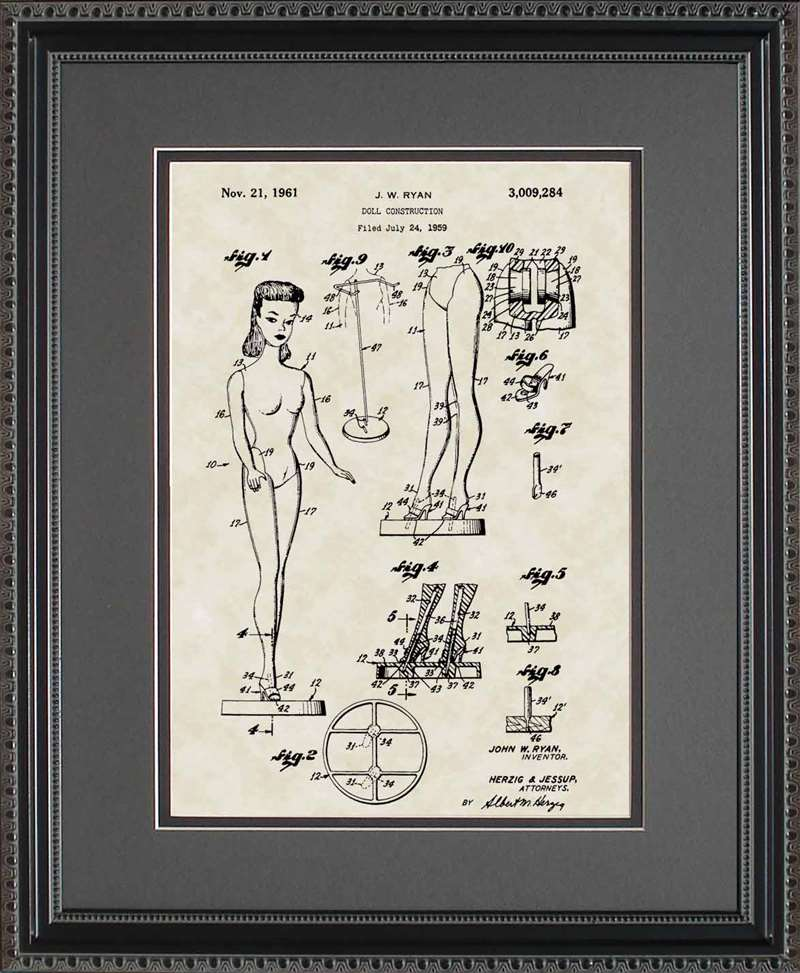 Barbie Doll Patent Art, Ryan, 1961