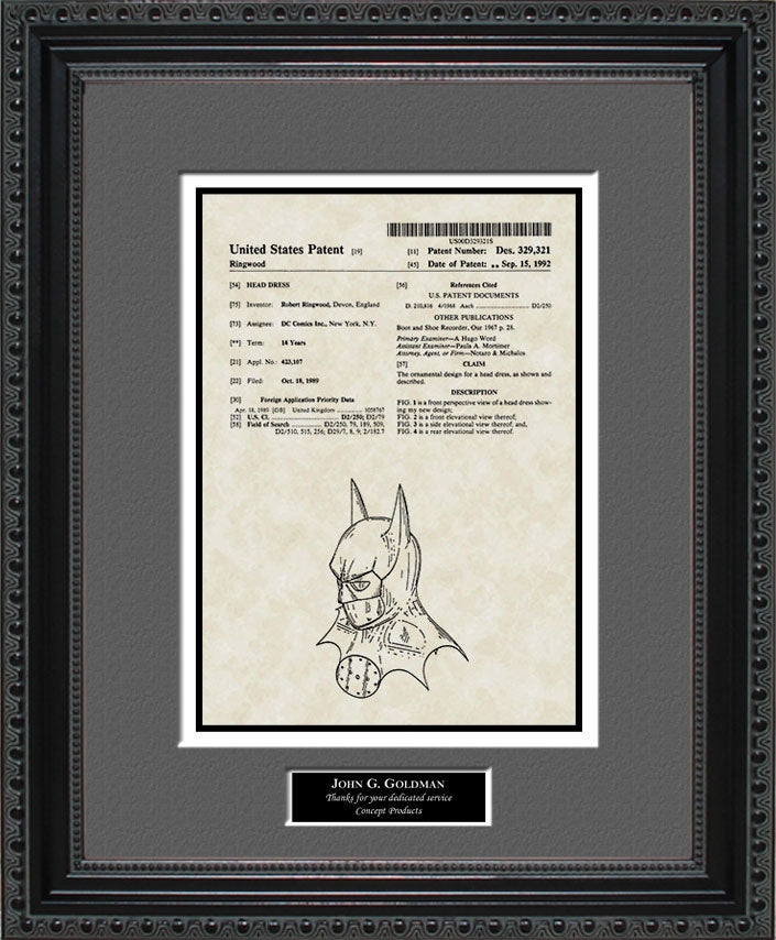 Personalized Batman Suit Patent Art, Ringwood, 1992