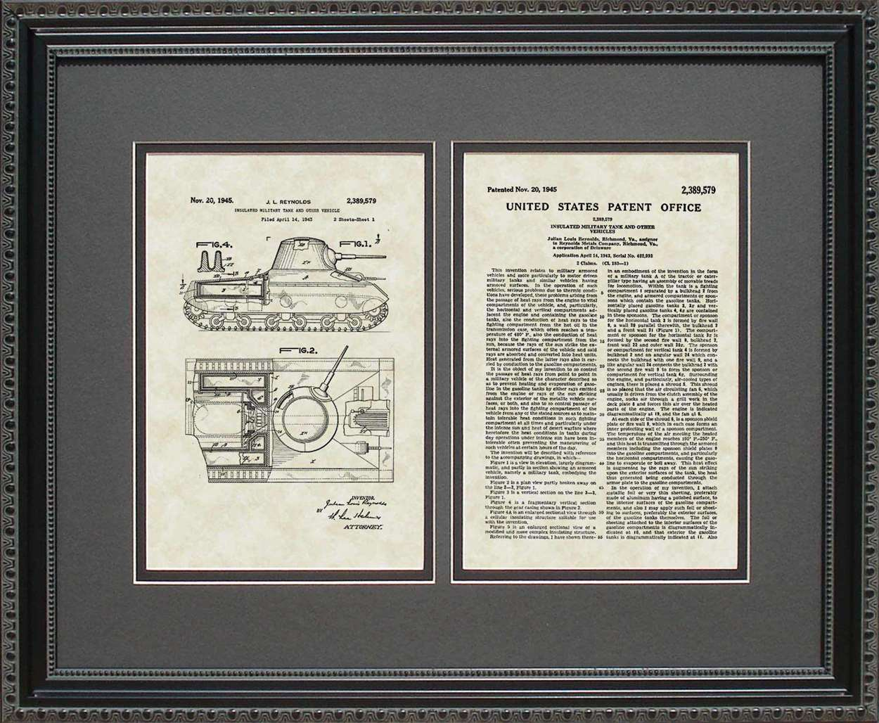 Tank Patent, Art & Copy, Reynolds, 1945, 16x20