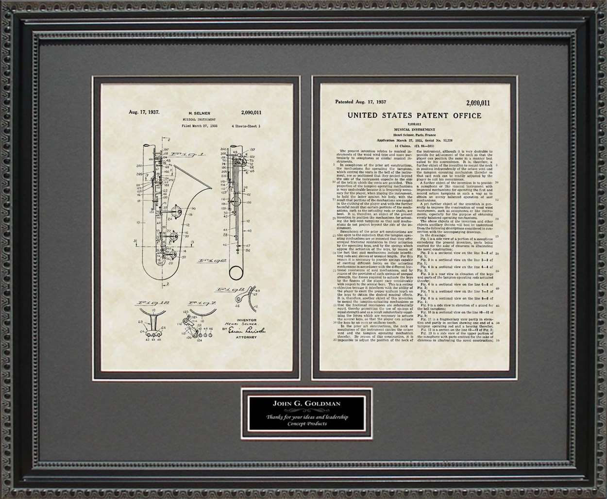 Personalized Saxophone Patent, Art & Copy, Selmer, 1937