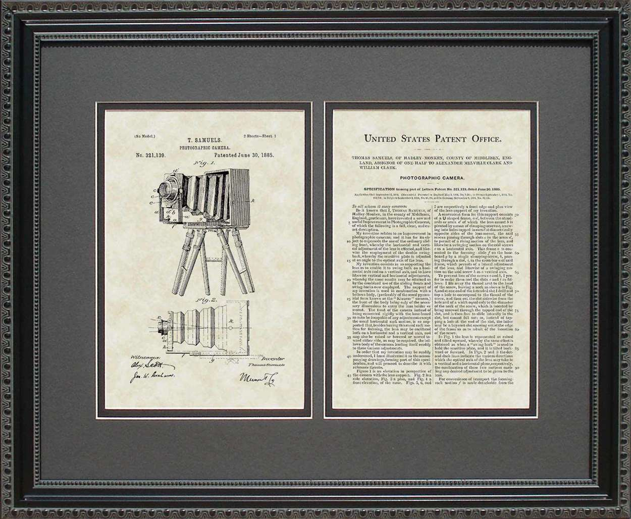 Early Camera Patent, Art & Copy, Samuels, 1885, 16x20