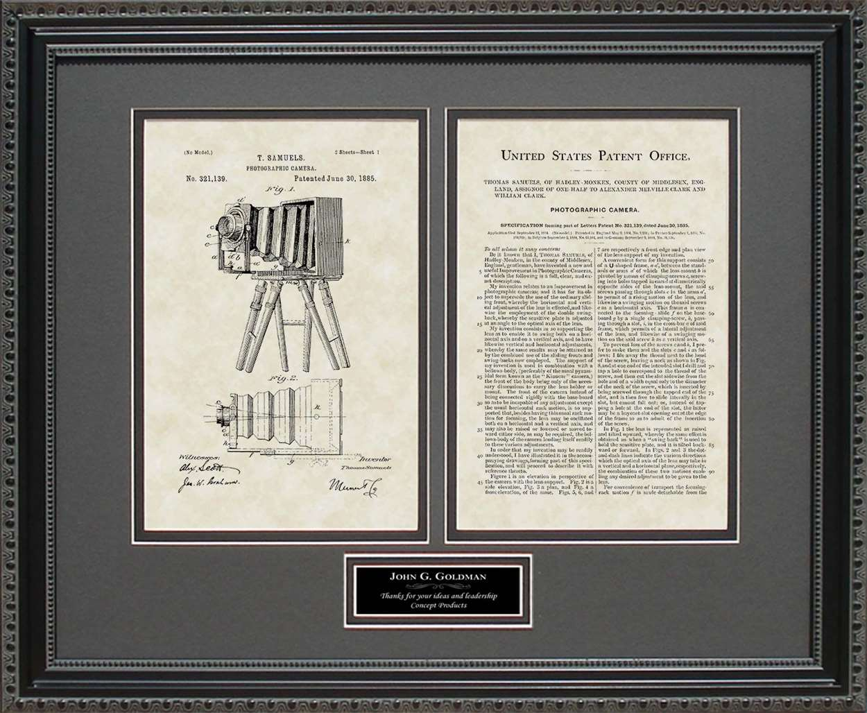 Personalized Early Camera Patent, Art & Copy, Samuels, 1885