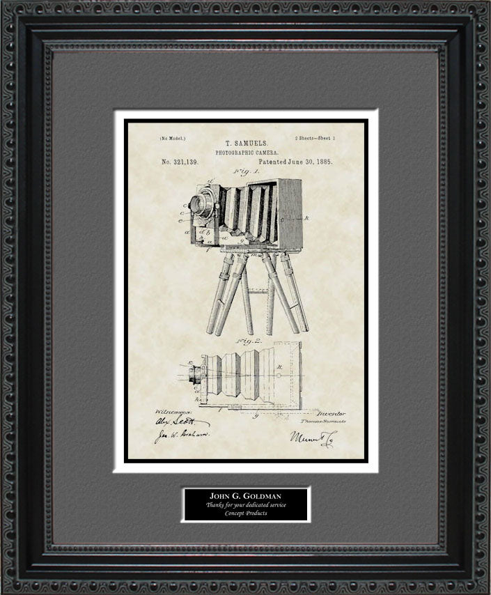 Personalized Early Camera Patent Art, Samuels, 1885