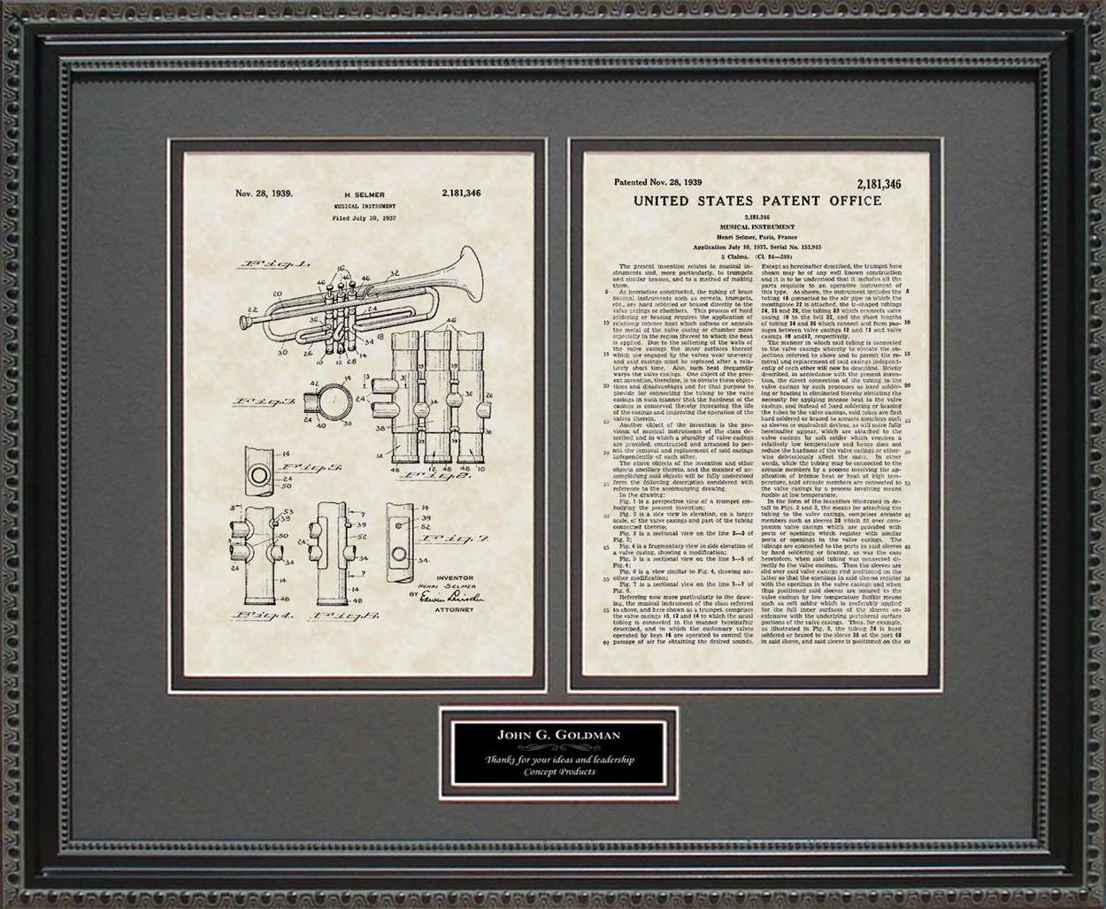 Personalized Trumpet Patent, Art & Copy, Selmer, 1939