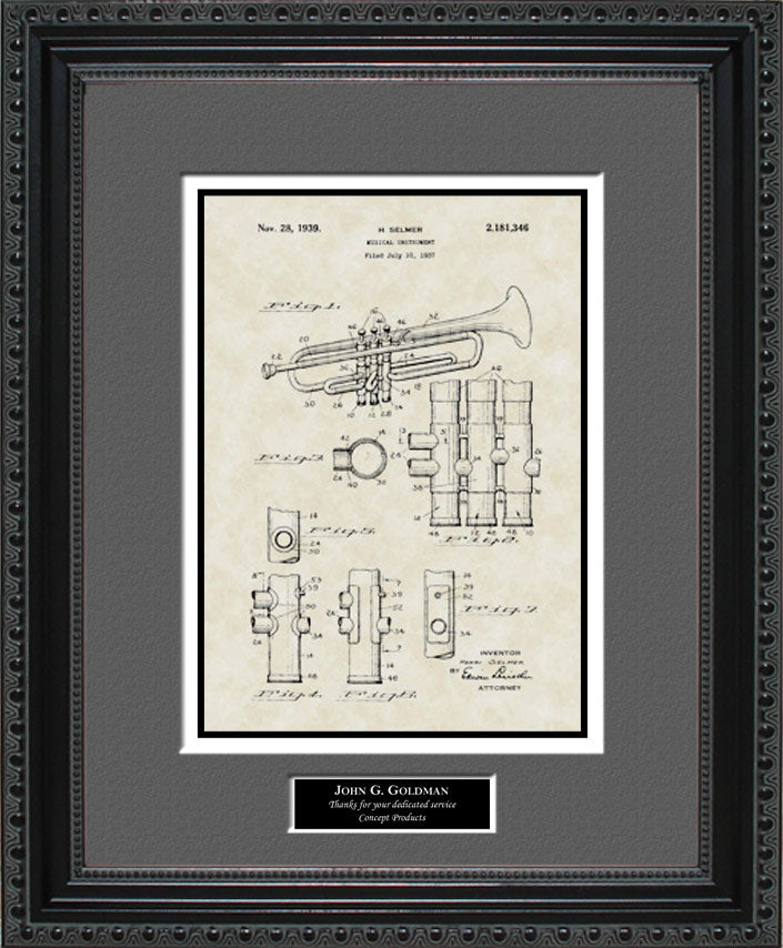 Personalized Trumpet Patent Art, Selmer, 1939
