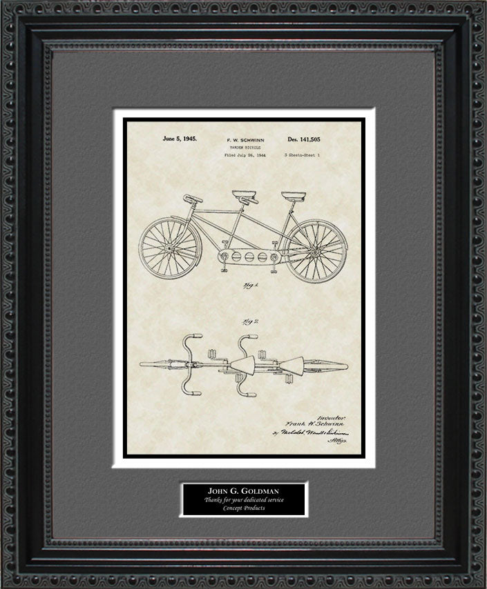 Personalized Tandem Bicycle Patent Art, Schwinn, 1945
