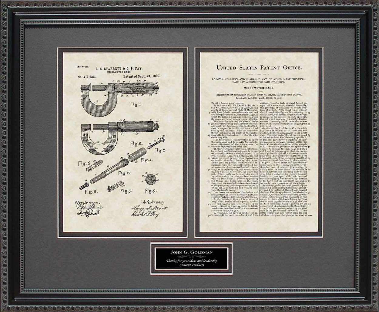 Personalized Micrometer Patent, Art & Copy, Starrett, 1889