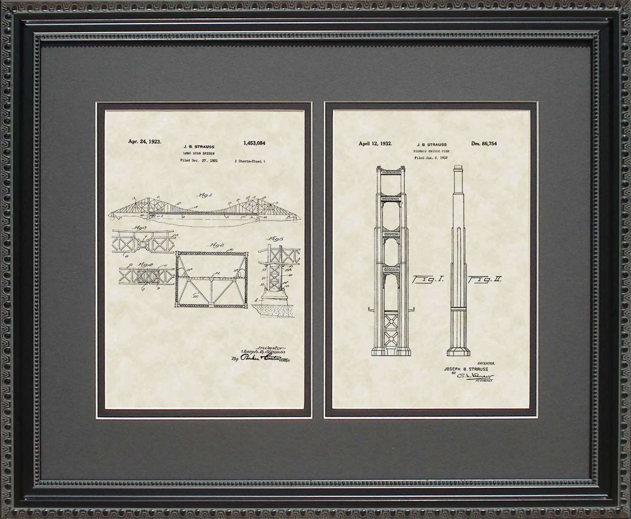 Golden Gate Bridge Span & Pier Patents, 16x20