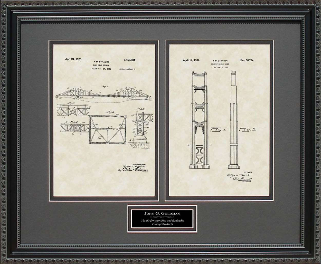 Personalized Golden Gate Bridge Span & Pier Patents, 16x20