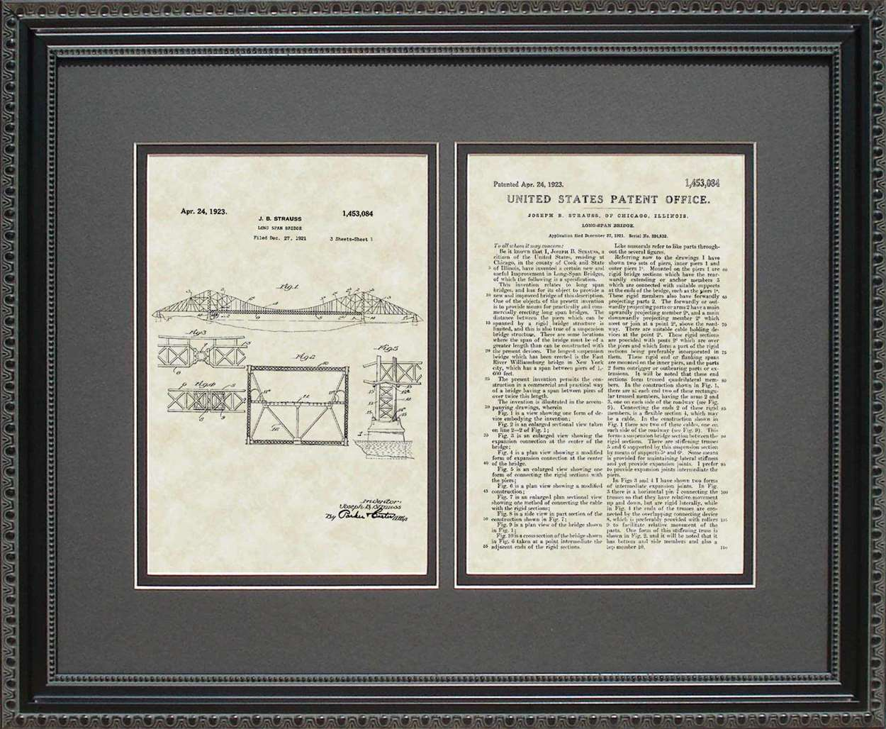 Long Span/Golden Gate Bridge Patent, Art & Copy, Strauss, 1923, 16x20