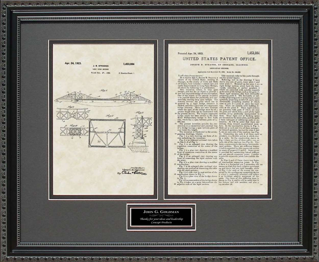 Personalized Long Span/Golden Gate Bridge Patent, Art & Copy, Strauss, 1923
