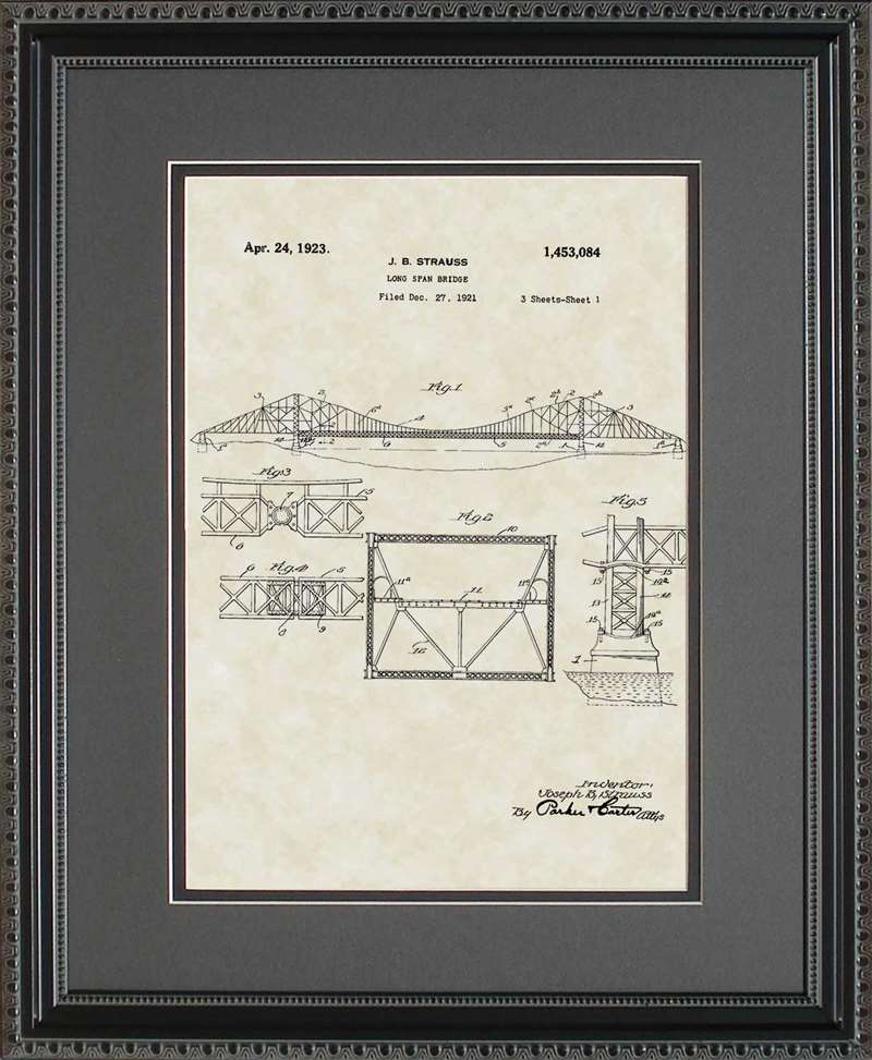 Long Span/Golden Gate Bridge Patent Art, Strauss, 1923