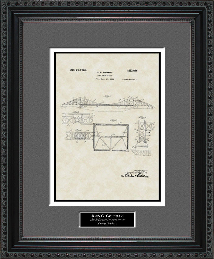 Personalized Long Span/Golden Gate Bridge Patent Art, Strauss, 1923
