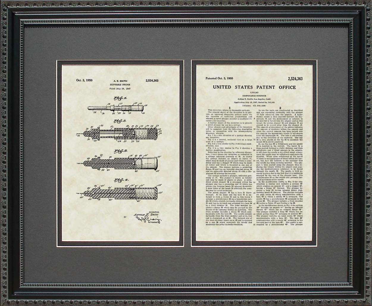 Disposable Syringe Patent, Art & Copy, Smith, 1950, 16x20