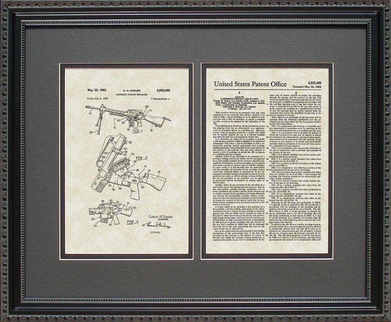 AR15 Rifle Patent, Art & Copy, Stoner, 1962, 16x20