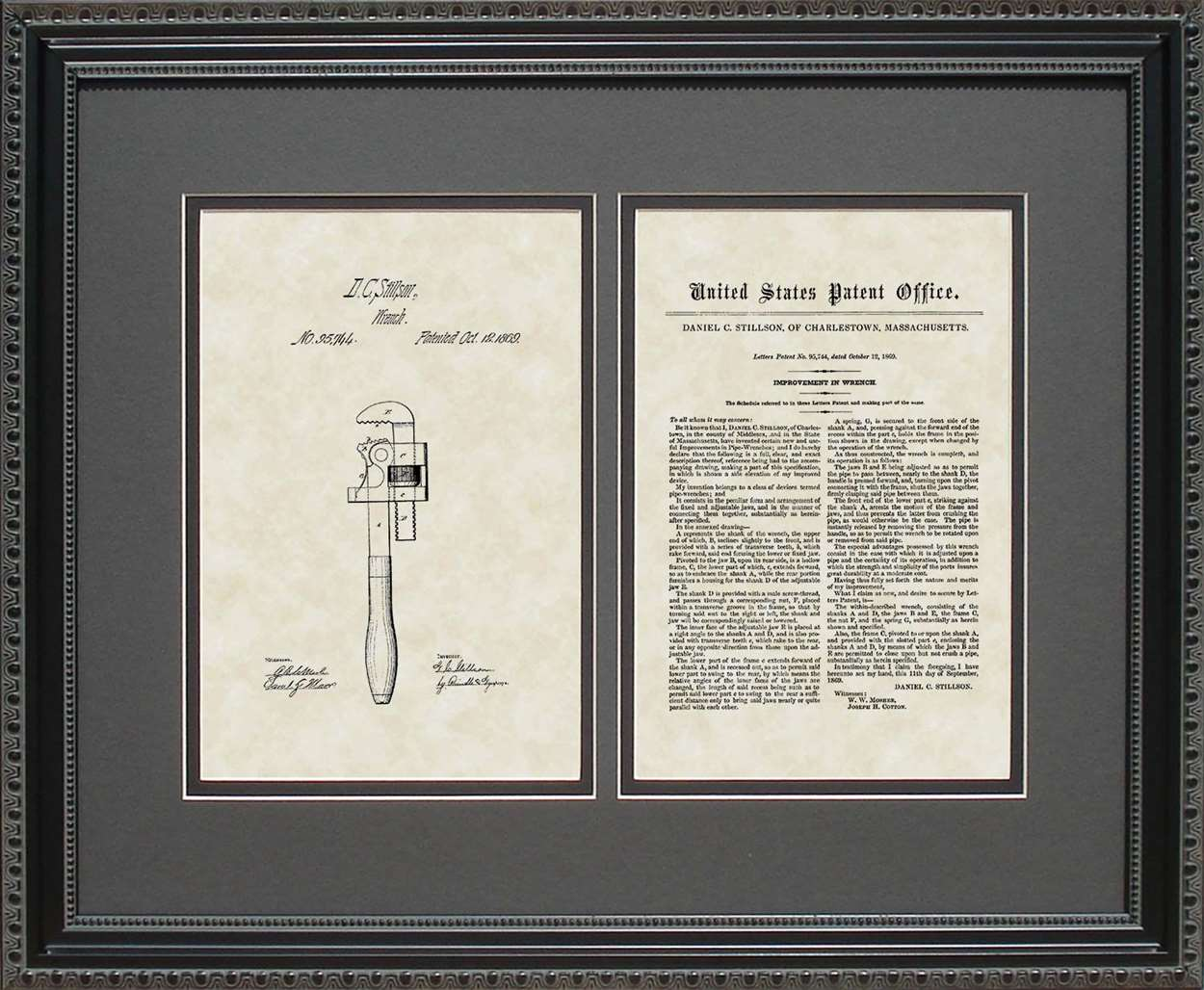 Pipe Wrench Patent, Art & Copy, Stillson, 1869, 16x20