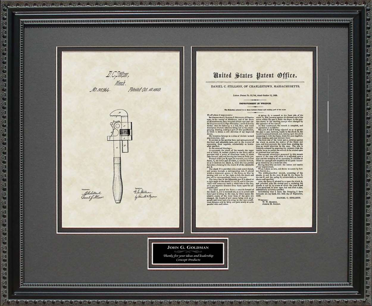 Personalized Pipe Wrench Patent, Art & Copy, Stillson, 1869