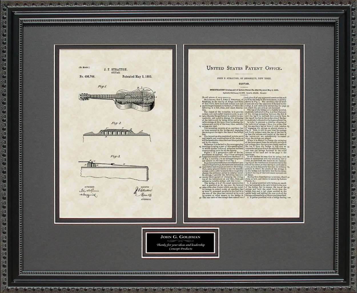 Personalized Guitar Patent, Art & Copy, Stratton, 1893