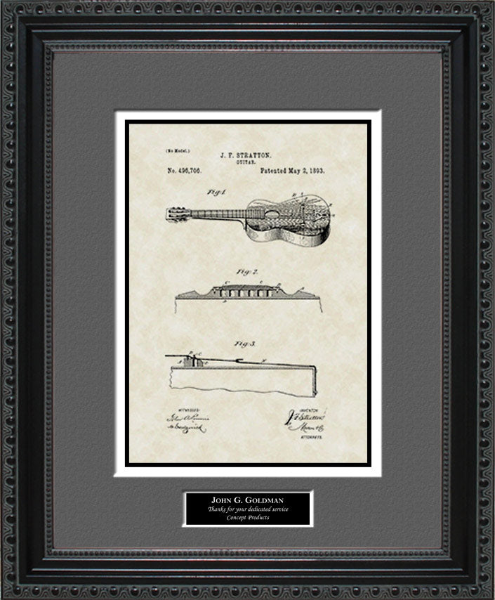 Personalized Guitar Patent Art, Stratton, 1893