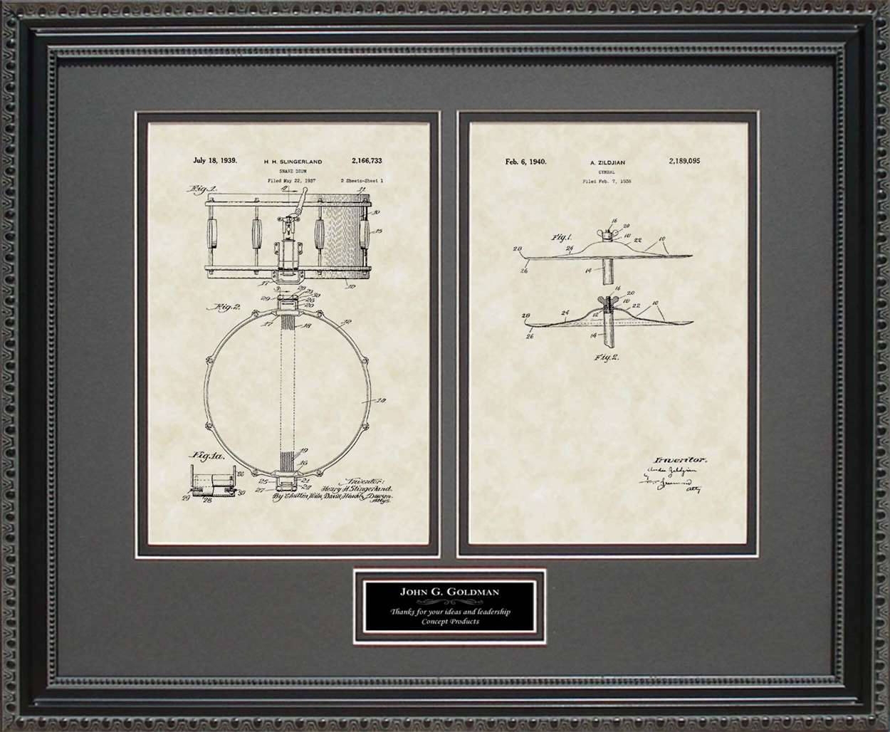 Personalized Drum & Cymbal Patents, 16x20