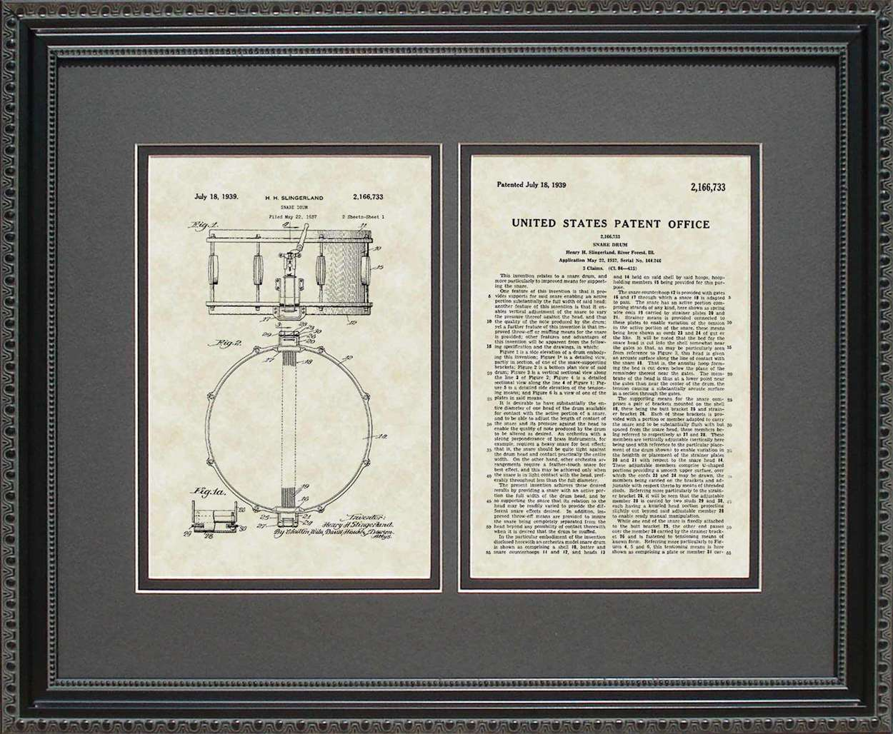 Snare Drum Patent, Art & Copy, Singerland, 1939, 16x20
