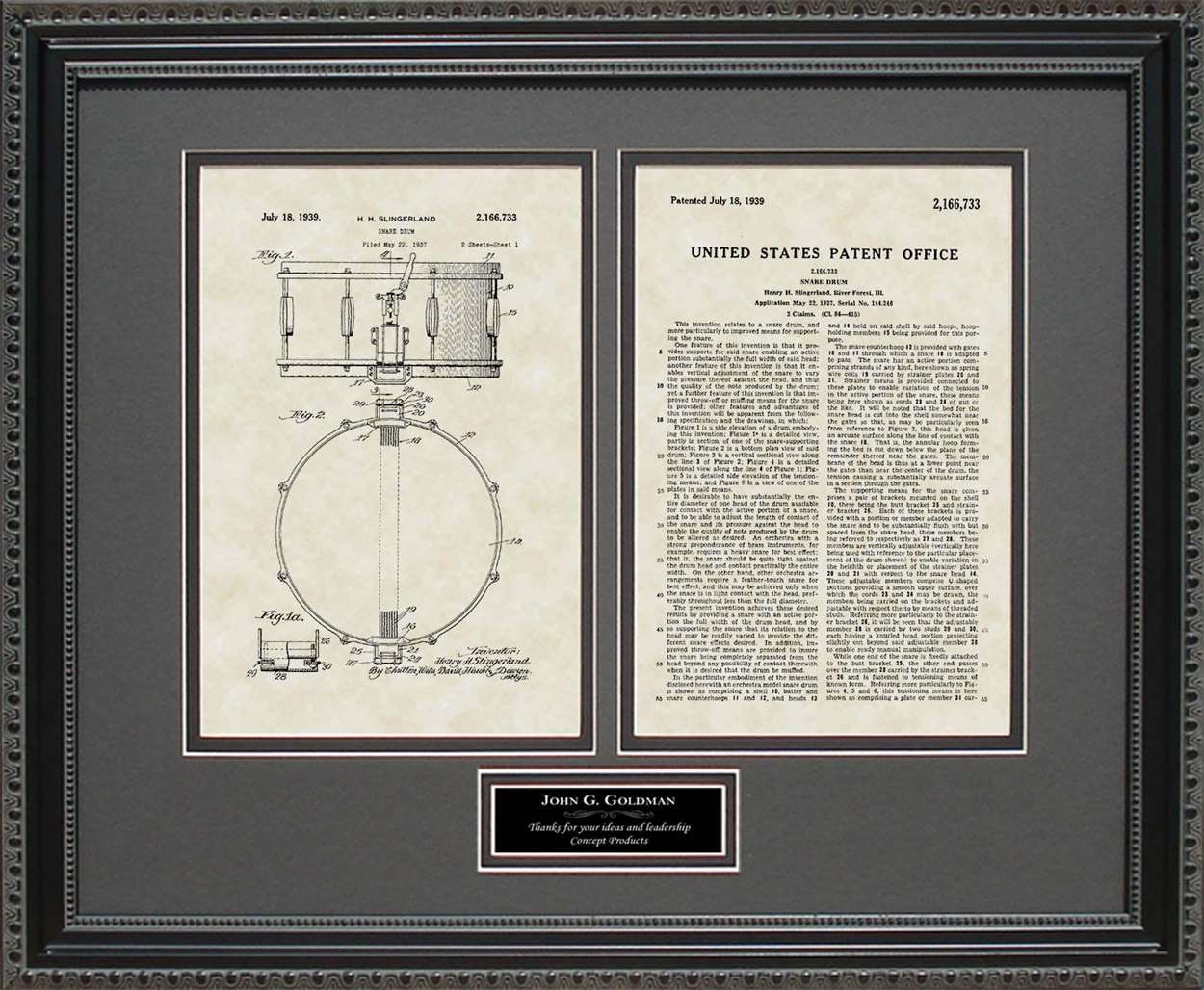 Personalized Snare Drum Patent, Art & Copy, Singerland, 1939