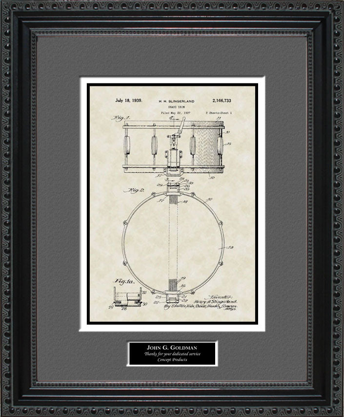 Personalized Snare Drum Patent Art, Singerland, 1939